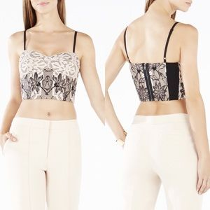 BCBGMaxazria blush lace crop top